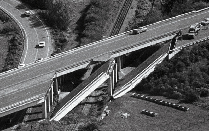 a freeway that collapsed in two places