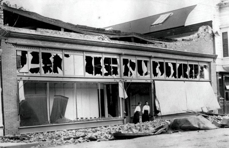 Severely damaged storefront in Ferndale