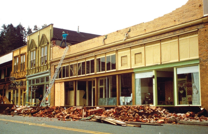 Broken bricks from the same storefront in the photo to the left but this time in 1992