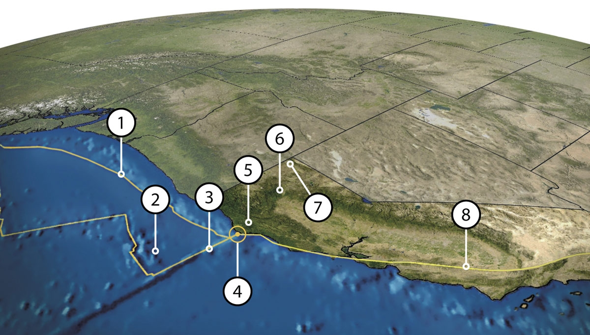a map of the pacific ocean and california from the west