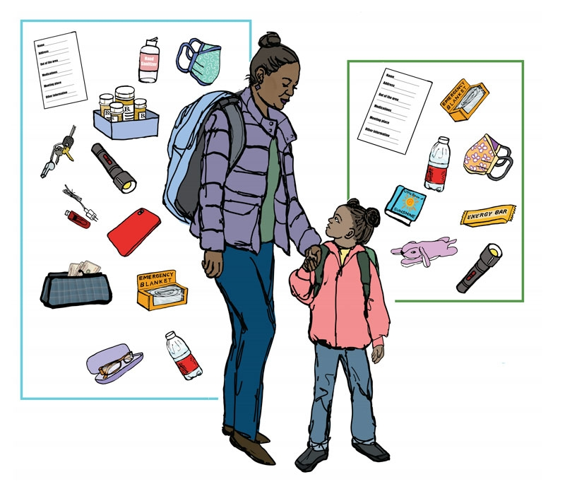 Illustration of a mother holding a daughters hand with lots of things behind them that would go in the grab and go pack.