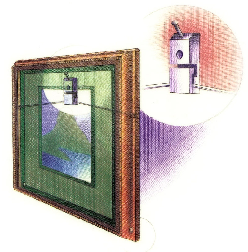 illustration of a special earthquake wall hanger
