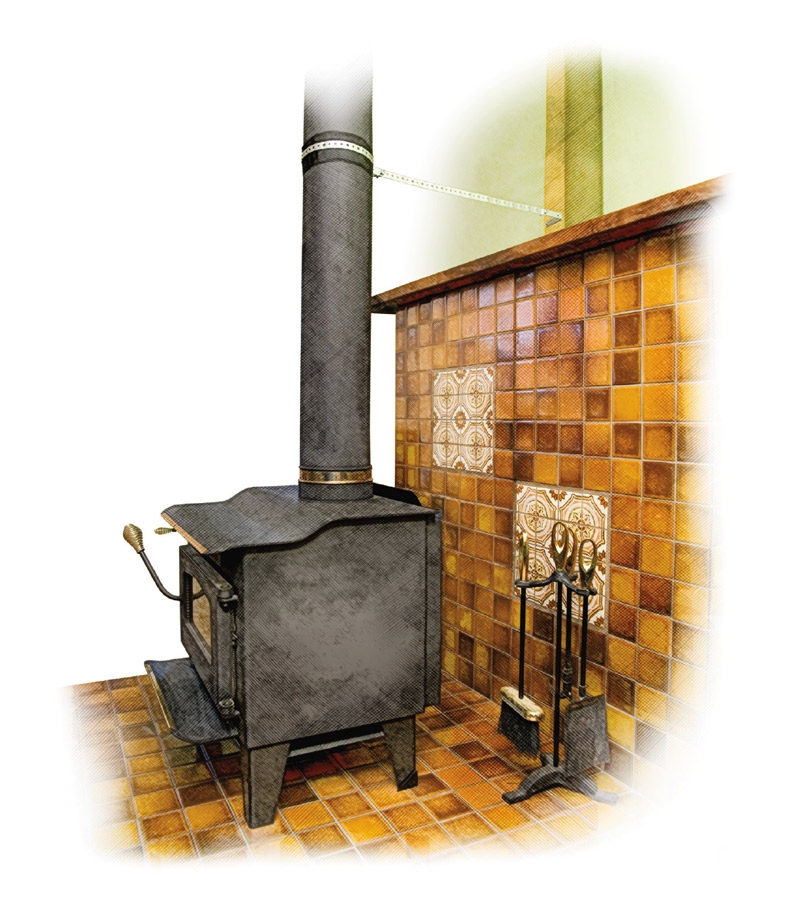 Wood stove with an anchor to the wall from the stove pipe