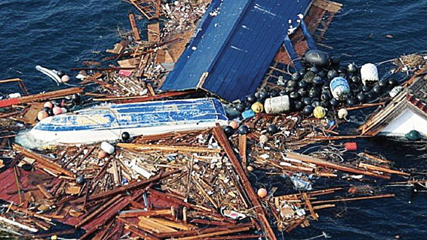 Photo showing an example of tsunami debris in the ocean