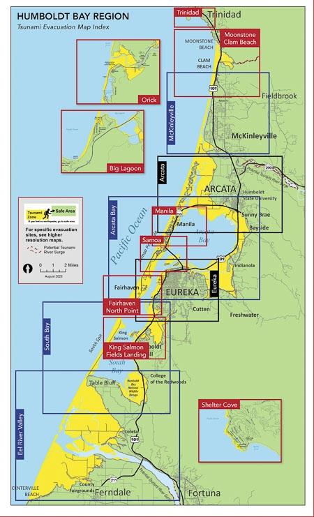 Humboldt Bay Region Tsunami Evacuation Map Index - thumbnail of PDF