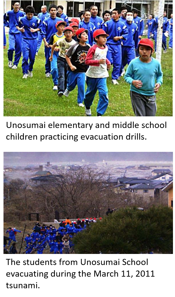 Photos of Unosumai School students practicing their tsunami drill and during the real event in 2011